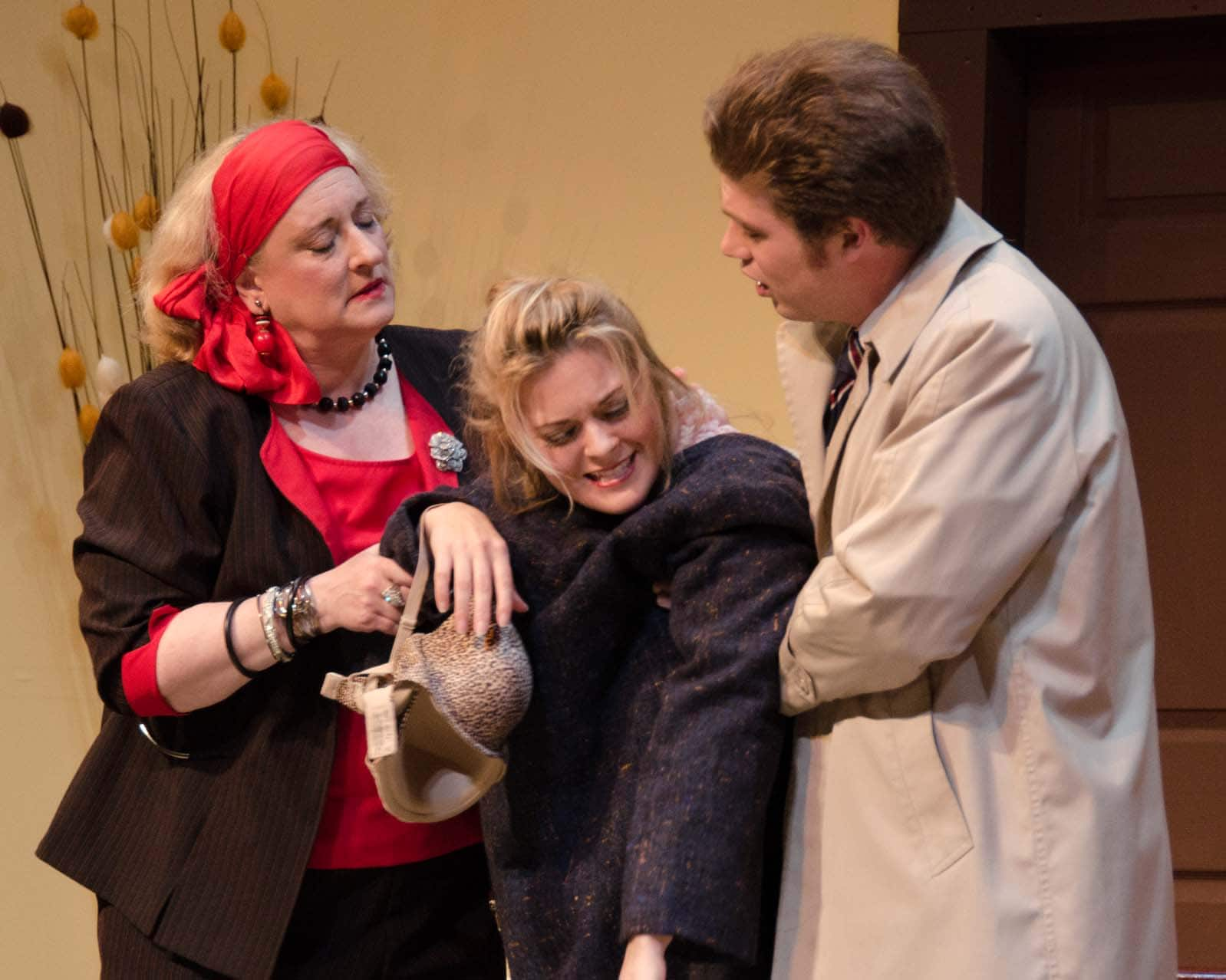 Gayle Nichols-Grimes (Betty Johnson), Charlene Sloan (Jean Perkins), and Erik Harrison (Henry Perkins). Photo by Doug Olmsted.