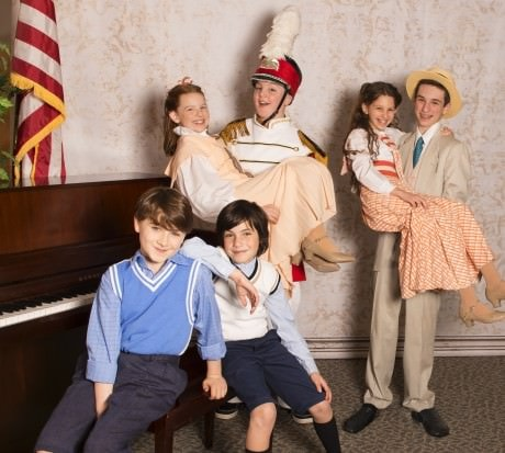 Double cast of 'The Music Man Jr': Left to right: Winthrop Paroos: Eli Schulman and Cole Edelstein. Zaneetas and Harold Hills: Anne Coulson and Zachary Conneen, Shira Minsk, and Jake Land. Photo by Erica Land.