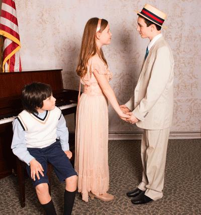Jacob Land (Harold Hill), Josie Weinberg (Marian Paroo), and Cole Edelstein (Winthrop Paroo). Photo by Erica Land.