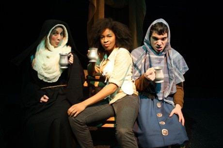 Rachel Menyuk (The Nun), Maya Jackson (The Host) and Scott Whalen (The Reeve). Photo by Mel Bieler.
