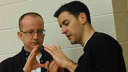 Quinn McCord and Nick DuPre during a rehearsal. Photo courtesy of McLean Community Players.