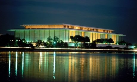The Kennedy Center at night.