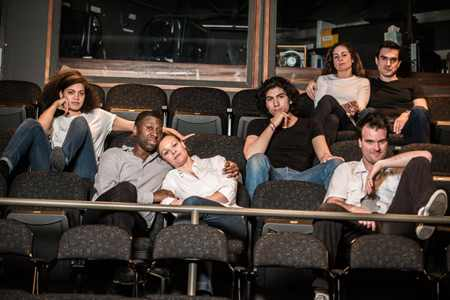 Barrett Doss (Debbie), Teagle F. Bougere (Henry), Caroline Bootle Pendergast (Charlotte), Enrico Nassi (Billy), Tim Getman (Brodie), Annie Purcell (Annie), and Dan Dominguez (Max). Photo by Teddy Wolff.