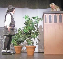 Ernie Sult, (Romeo) woos the lovely Juliet, (Virginia Scott).