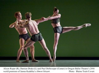 Oregon Ballet Theatre's Damian Drake, Paul DeStrooper, and Alison Roper in Almost Mozart. Photo by Blaine Truitt Covert
