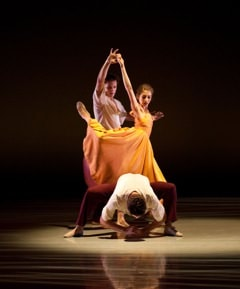Richmond Ballet's Shira Lanyi, Jess Bechard, and Kirk Henning in 'Ershter Vals.' Photo by Sarah Ferguson.