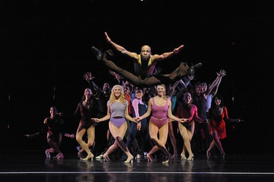 Tony Thomas (Richie) and the cast of 'A Chorus Line.' Photo by Stan Barouh.