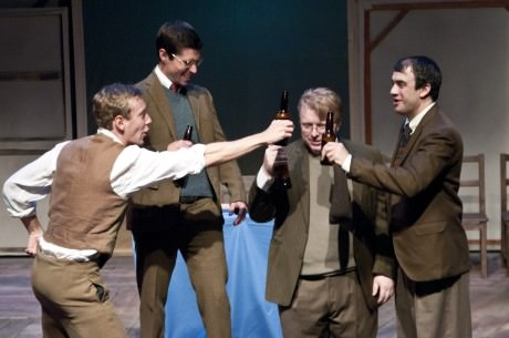 (from left) Dylan Myers (Oliver), James Miller (Harry), Alden Michels (George), and Jason Tamborini (Jimmy). Photo by Teresa Castracane.