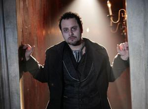 Daniel Cooney in Nevermore at Signature Theatre. Photo by Carol Pratt.