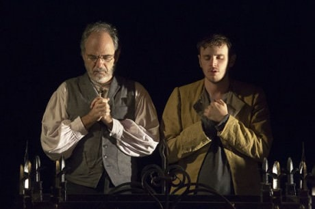 Friar Lawrence (Eric Hissom) and Romeo (Michael Goldsmith) in prayer. Photo by Jeff Malet.