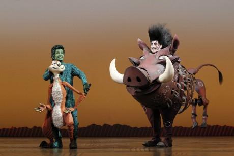 Timon (Nick Cordileone) and Pumbaa (Ben Lipitz). Photo by Joan Marcus.