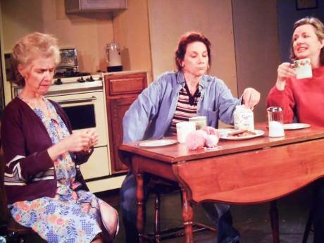(L to R): Dottie (Declan Cashman), Margaret (Roxanne Fournier Stone), and Jean (Marianne Meyers). Photo by Harvey Levine.
