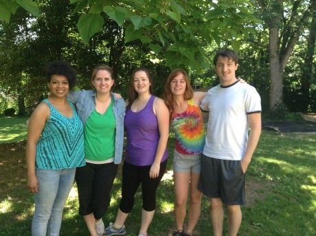 The cast of 'Breast in Shows': Left to right: Ayanna Hardy, Megan Westman, Jennie Lutz, Gracie Jones, and Chris Rudy. Not Pictured: Matt Dewberry.