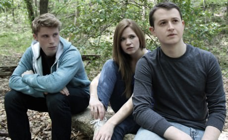 Cast members from left to right:  William Vaughn (Jacob), Maggie Erwin (Sam's best friend Esther), and Chris Stinson (Sam). Photo courtesy of The Hub Theatre.