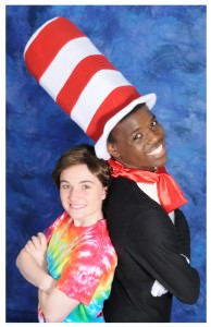 Tendo Nsubuga (the Cat in the Hat) and Aurora Beckett (JoJo). Photo courtesy of  Montgomery College Summer Dinner Theatre.
