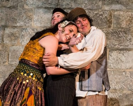 (l to r) Phebe (Teresa Spencer) Rosalind (CSC company member Blythe Coons) and Silvius (CSC company member James Jager). Photo courtesy of Chesapeake Shakespeare Company.