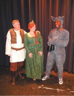 Shrek (Glenn Cosker), Fiona (Jennifer LePaige) and Donkey (Devyn Tinker). Photo by Bonnie Hobbs/The Connection.