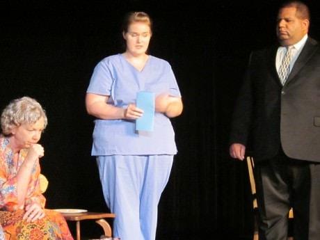 (l to r) Evie (Debi Preston) Nurse Jennifer (Stephanie Shade) and Special Agent Wild (Matthew Datcher). Photo Credit David Jones.