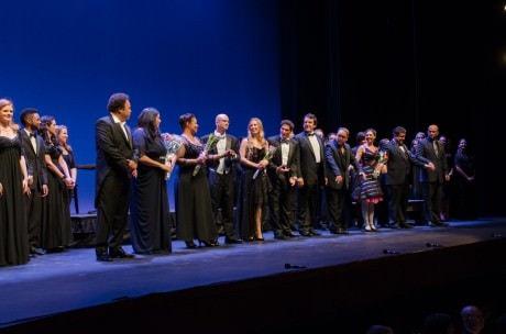 From left to right: 'Cavalleria Rusticana': - Lázaro Calderón (Turridu); Fabiana Bravo (Santuzza); Anamer Castrello (Mama Lucia); Joel Borrelli-Boudreau (conductor); and Sandra Schwarzhaupt (Lola); And 'I Pagliacci':  Aaron Halevy (Beppe); Nemeh Azzam (Silvio); Marc Heller (Canio); Sara Beth Pearson (Nedda); Guido LeBrón (Alfio in Cav; Tonio in Pag);and Jay Brock (Stage Director).