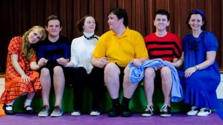 L to R) Patty (Amanda Fossett) Schroeder (Nick Pacheco) Snoopy (Jennifer Toll) Charlie Brown (Joseph Rolandelli) Linus (Quentin Patrick) and Lucy (Laura Marchiano) . Photo by Brighter Futures Photography.