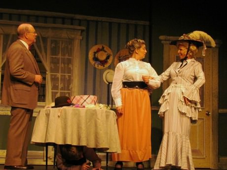 L to R) Gene Valendo (Horace Vandergelder), Pam Shilling (Mrs. Irene Molloy), and Nori Morton (Dolly Levi). Photo Courtesy of 2nd Star Productions and Debe Tighe.