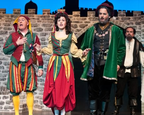 L to R: Jack Point (Gary Sullivan), Elsie Maynard (Amy Broadbent), Sir Richard Cholmondeley (Andrew Pardini), and Wilfred Shadbot (Blair Eig). Photo by Harvey Levine.