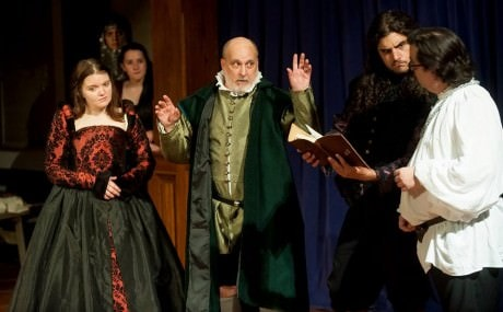 Hieronimo (center-Frank Vince) reveals a scheme to Bellimperia (left-Kat McKerrow), Balthazar (right-Matthew Purpora) and Lorenzo (far right- Bill Soucy) while the Ghost of Don Andrea (background left- Megan Farber) and Revenge (background left- Shelby Monroe) observe. Photo credit: Joshua McKerrow.