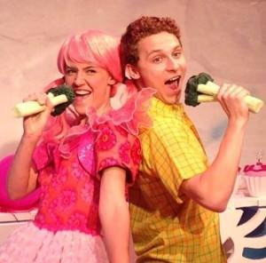 Carolyn Agan (Pinkalicious) and John Sygar (Peter). Photo by Mike Horan.