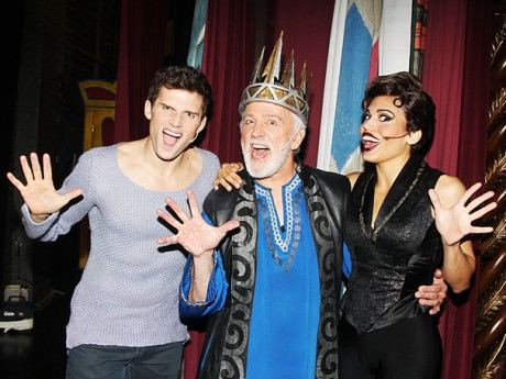 Kyle Dean Massey (Pippin), John Rubinstein (Chales) & Ciara Renee (Leading Player). Photo by Bruce Glikas.