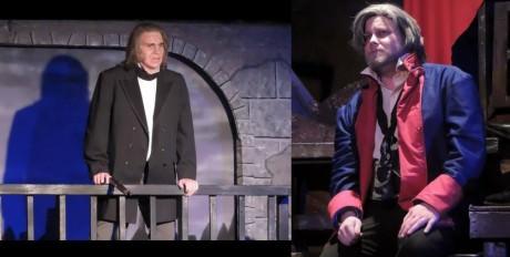 Javert (L- Brady Love) and Jean Valjean (R- Jordan B. Stocksdale). Photo courtesy of Way Off Broadway Dinner Theatre.