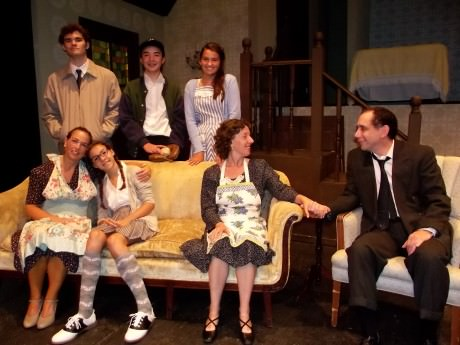 The cast of 'Brighton Beach Memoirs': Top Row L to R – Stanley Jerome (Mike Culhane), Eugene Jerome (Casey Baum) and Nora Morton (Sophia Speciale). Bottom Row – Blanche Morton (Jill Goodrich), Laurie Morton (Annalie Ellis), Kate Jerome (Nora Zanger), and Jack Jerome (Steve Feder). Photo by Roy Peterson.