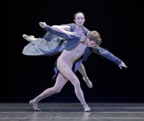 Principal Dancer Alison Roper with Soloist Lucas Threefoot in the world premiere of Trey McIntyre's 'Robust American Love, 'choreographed to the music of the Fleet Foxes. Trey's piece is one of three works on OBT's Spring program, American Music Festival. American Music Festival runs April 18 - 27, 2013 at the Newmark Theatre. Photo by Blaine Truitt Covert.
