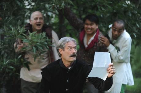 Frank Mancino (Sir Toby-hiding top left in the bushes), Richard Fiske (Malvolio), Yen Nguyen (Sir Andrew), and Eric Porter (Fabian). Photo by  Joshua McKerrow.