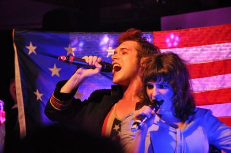"""Major George Armistead (Corey Hennessey) and Mary Pickersgill (Moira Horowitz) singing """"Big Ass Flag."""" Photo courtesy of Dave Israel."""