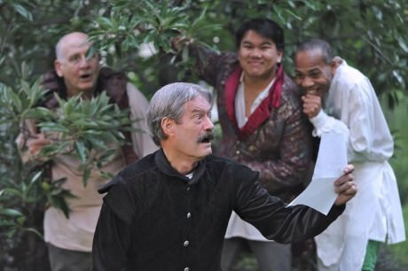 Frank Mancino (Sir Toby), Richard Fiske (Malvolio), Yen Nguyen (Sir Andrew), and Eric Porter (Fabian). Photo by Joshua McKerrow.