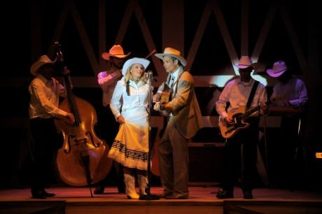 Audrey (Jackie Fields) and Hank (Robbie Limon) with The Drifting Cowboys: Hoss (Eric Sandstrom) on upright bass, Leon (Luke Gray) on fiddle, Jimmy (Jimmy Cherry) on electric guitar, and Shag (Brian LeBlanc) on steel guitar. Photo courtesy of Riverside Center Dinner Theater.