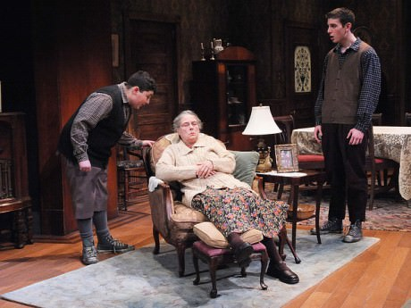 Max Talisman (Artie), Tana Hicken (Grandma Kurnitz), and Kyle Schliefer (Jay) in 'Lost in Yonkers' at Theater J. Photo by Stan Barouh.