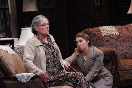 Tana Hicken as Grandma Kurnitz and Holly Twyford  (Bella) in 'Lost in Yonkers' at Theater J. Photo by Stan Barouh.