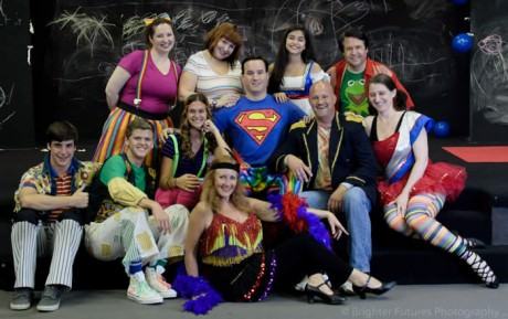 The cast of 'Godspell': (Top Row Left to Right): Sandy Rardon, Lori Chapman, Julia Salatti, John Scheeler (Bottom Row Left to Right): A.J. Williams, Sean Love, Katie Sacha Brian Mellen (Jesus), Frank Antonio (John the Baptist), and Christina Shunk (BottomCenter): Christy Stouffer. Photo courtesy of Pasadena Theatre Company.