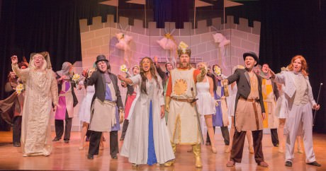 Center Front: Ashlie-Amber Harris (Lady of the Lake and (King Arthur) and the cast of 'Monty Python's SPamalot.'. Photo by