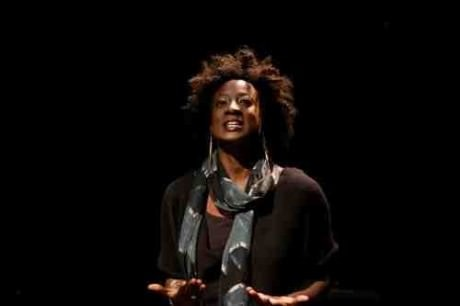 """Daphne Gaines as """"Simone the Believer"""" in 'The Ashes Under Gait City by Christina Anderson. CATF 2014. Photo by Seth Freeman."""