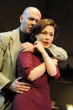 Chis Genebach (Moe Axelrod) and Laura C. Harris (Hennie Berger). Photo by Stan Barouh.