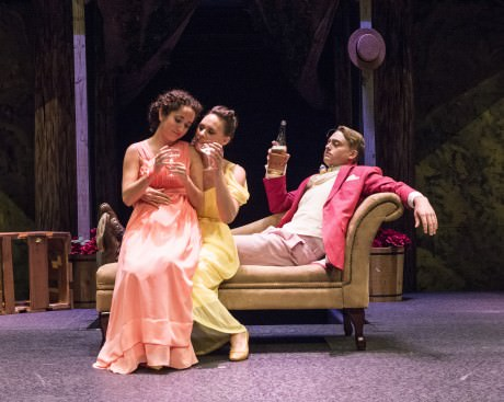 L To R: Rachael Jacobs (Hermia), Audrey Bertaux (Hermia), and  Travis Hudson (Lysander). Photo by Teresa Castracane.