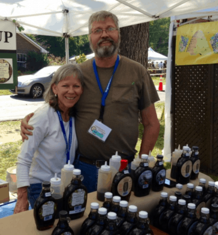 Joyce and Travis Miller of Falling Bark Farm at the Bluemont Festival.