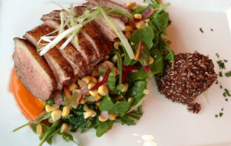 Hudson Valley Duck Breast with Quinoa and Spicy Corn Salad at Maple Avenue.