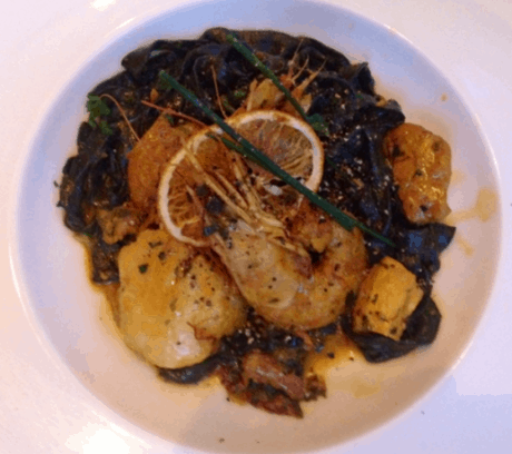 Squid ink pasta with head-on Shrimp at Lupo Verde.