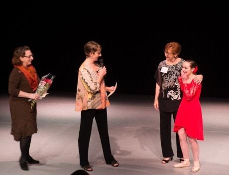(L to R) - Caroline Frankil Warren (BalletNova Executive Director), Nancie Woods (BalletNova Artistic Director), Kathy Fredgren, and Amara Forsley (first Fredgren Scholarship recipient).