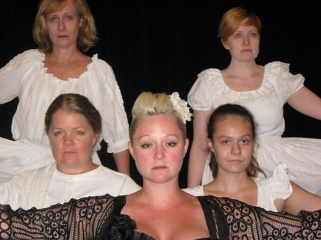 Back row: Mary Payne, Kathleen McCormack         Front row: Kristen Jepperson, Karissa Swanigan, and Barbara Lawson. Photo courtesy of Pandemonium Theatrical Productions.