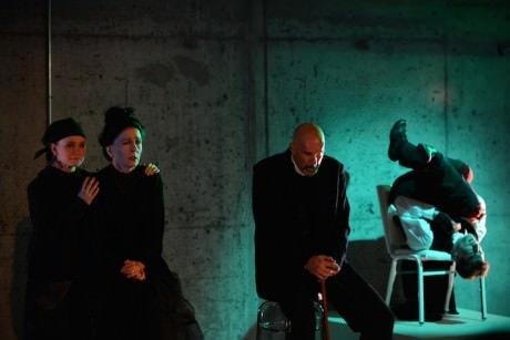 From left: Lily Kerrigan (Greta Samsa), Pamela Bierly-Jusino (Mrs. Samsa), David Millstone (Mr. Samsa), and Ari Jacobson (Gregor Samsa) in 'Metamorphosis.' Photograph © Hilsdon Photography.