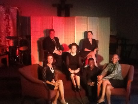The cast of 'Masquerade.' L to R: Sarah Scott (Kelli), Tim Jansen (Steven), Carol V. Calhoun (Center) (Emma), Lauren Giglio (Janet), Alie Kamara (Kyle), and Kelly Richards (Pastor Diana). Photo courtesy of Wolf Pack Theatre Company.